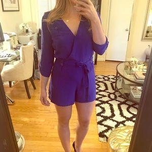 Yumi Kim Cobalt Blue 3/4 Slv Silk Romper